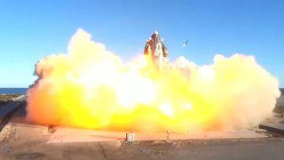 This SpaceX video frame grab image shows SpaceX's Starship SN8 rocket prototype crashing on landing