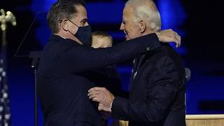 Joe Biden embracing his son, Hunter Biden.