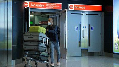 Passenger departing Heathrow airport, June 2020