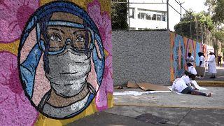 شاهد: لوحة جدارية بطول 100 متر تكريماً لممرضات المكسيك