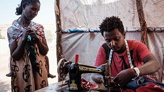 Ethiopian refugee sets up tailor shop in Sudan