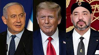 رئيس الوزراء الإسرائيلي بنيامين نتنياهو والرئيس الأمريكي دونالد ترامب وملك المملكة المغربية محمد السادس.