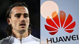 Montage : le footballeur français Antoine Griezmann et le logo de la firme chinoise Huawei