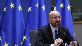 رئيس المجلس الأوروبي تشارلز ميشيل في مقر المجلس الأوروبي في بروكسل.