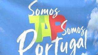 Faixa utilizada nos protestos em Lisboa