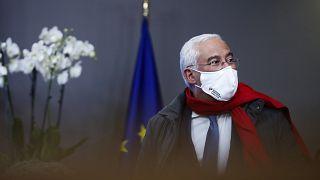 Primeiro-ministro de Portugal à saída da cimeira da União Europeia em Bruxelas