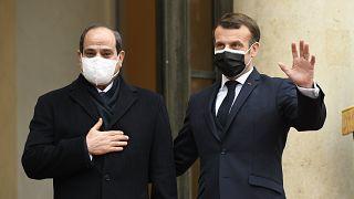 Mısır Cumhurbaşkanı Abdulfettah El Sisi ve Fransa Cumhurbaşkanı Emmanuel Macron