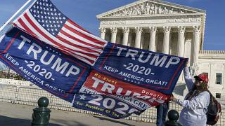 Protesters demonstrate their support for President Donald Trump at the Supreme Court in Washington, Friday, Dec. 11, 2020.