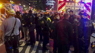 مكان وقوع عملية دهس محتجين بسيارة في نيويورك. 2020/12/11