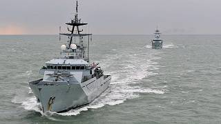 Royal Navy fishery protection vessels on patrol off the coast of Portsmouth, UK.