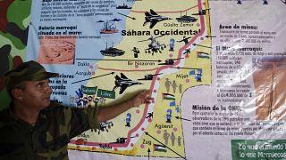 خريطة للصحراء الغربية معروضة في متحف جيش التحرير الشعبي، في مخيم الرابوني للاجئين الصحراويين