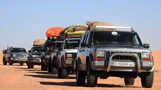 Il convoglio alla partenza da Gheriat el-Garbia, Libia