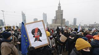 Thousands of anti-government protesters demonstrated in Warsaw in the latest large protest on December 13, 2020.