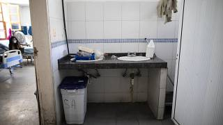 A sink lacks running water at the Luis Razetti Oncology Hospital in Caracas, Venezuela,