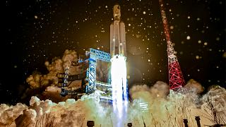 A test launch of a heavy-class carrier rocket Angara-A5 at Plesetsk launch facility, Russia