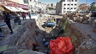 Rovine del sito archeologico romano recentemente scoperto nella capitale giordana Amman