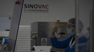 Çinli Sinovac ilaç firmasına ait bir fabrikada görevli şahıs, üretilen şırıngaları incelerken
