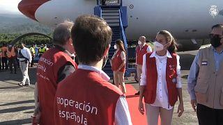 La reina Letizia llega a la base aérea Héctor Moncada de La Ceiba