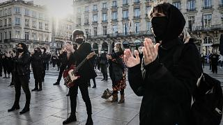 A protest against the restrictions imposed by the government as part of lockdown measures in front of the Grand Theatre in Bordeaux, southwestern France, on November 23, 2020.