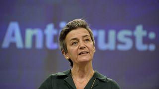 La vicepresidenta ejecutiva europea Margrethe Vestager habla durante una conferencia de prensa en Bruselas, el jueves 26 de noviembre de 2020.