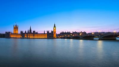 View of London from the Thames River