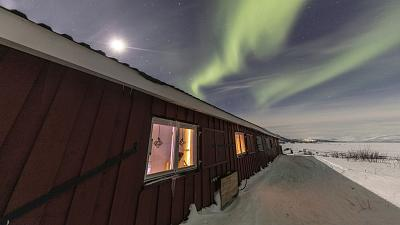 A cabin in Abisko, Sweden. Deep in Swedish Lapland it is a great place to see the northern lights.