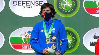 Η Μαρία Πρεβολαράκη στο υψηλότερο σκαλί του βάθρου του Παγκοσμίου Κυπέλλου Πάλης