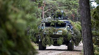 Phot d'archives : véhicule militaire suédois lors d'exercices, le 19 septembre 2017