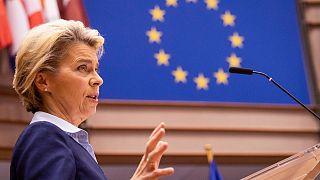 President of Commission Ursula von der Leyen delivers a speech at European Parliament, in Brussels, on December 16, 2020.