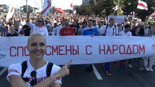 Yelena Leuchanka durante una delle manifestazioni contro Lukashenko