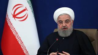 الرئيس الإيراني حسن روحاني خلال مؤتمر صحفي في طهران، 14 كانون الأول / ديسمبر 2020