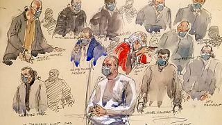 Croquis fait le 14 décembre 2020 au cours du procès des attentats de Paris en janvier 2015.