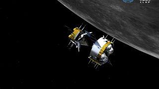 """Simulation von """"Chang'e 5"""" vor dem Mond."""