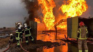 حريق في حقل خباز النفطي - شمال العراق