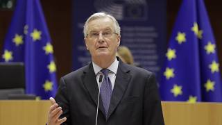 EU chief negotiator Michel Barnier speaks during a debate on future relation between the EU and UK at a plenary session of the European Parliament in Brussels on December 18,