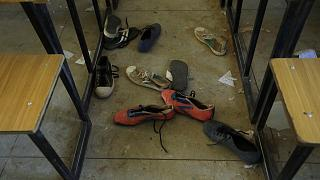 Shoes of the kidnapped students from Government Science Secondary School are seen inside their class room Kankara, Nigeria, Wednesday, Dec. 16, 2020.