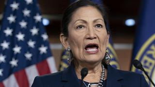In this March 5, 2020, file photo Rep. Deb Haaland, D-N.M., Native American Caucus co-chair, speaks to reporters about the 2020 Census on Capitol Hill in Washington.