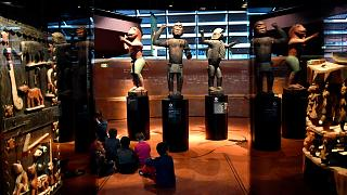 Big royal statues of the Kingdom of Dahomey dating back to 1890-1892 are pictured on June 18, 2018 at the Quai Branly Museum-Jacques Chirac in Paris.