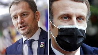 Both Slovakian Prime Minister Igor Matovic (left) and French President Emmanuel Macron (right) have tested positive after attending the same EU summit last week