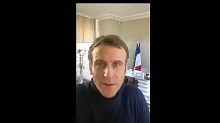 In this image made from video taken from the Twitter account of Emmanuel Macron on Friday, Dec. 18