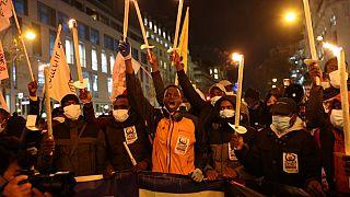 Manifestation de sans-papiers à Paris, France, le 18 décembre 2020