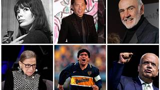 From left to right: singer Juliette Greco, fashion designer Kenzo Takada, Justice Ruth Bader Ginsburg, Footballer Diego Maradona, Palestinian negotiator Saeb Erekat.