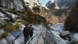 n this Oct. 23, 2018, file photo, local tourists walk on the trail at Mount Kumgang, known as Diamond Mountain, in North Korea
