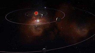 رسم توضيحي من المعهد الكوري لعلوم الفضاء والفلك يظهر نظامًا شمسيًا بعيدًا وموقعًا لكوكبين تم اكتشافهما حديثًا، أحدهما يشبه كوكب المشتري (يمين الوسط) والآخر يشبه زحل (أسفل).