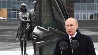 الرئيس الروسي فلاديمير بوتين يلقي كلمة في الذكرى المئوية لتأسيس جهاز الاستخبارات الخارجية الروسي، موسكو في 20 ديسمبر 2020.