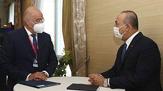 Νίκος Δένδιας και Μεβλούτ Τσαβούσογλου σε συνάντησή τους στην Σλοβενία το 2020