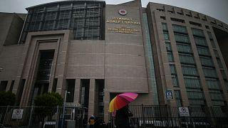 المحكمة الجنائية في اسطنبول، الجمعة 18 ديسمبر 2020، أثناء جلسة استماع لمحاكمة رجل الأعمال التركي عثمان كافالا