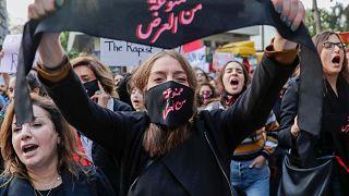 مظاهرة ضد التحرش الجنسي والاغتصاب والعنف الأسري في العاصمة اللبنانية بيروت، 7 ديسمبر 2019