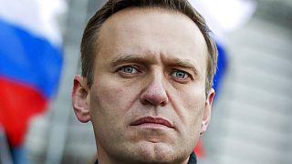 Ezen a 2020 februárjában készült fotón Navalnij az elhunyt ellenzéki vezető, Borisz Nyemcov megemlékezésén vesz részt.