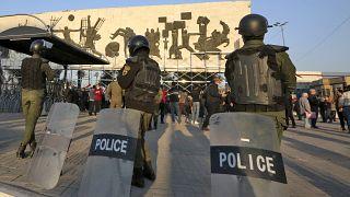 نیروهای پلیس در میدان تحریر بغداد